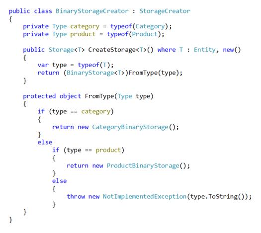 Naiwna wersja klasy BinaryStorageCreator (kod C#)